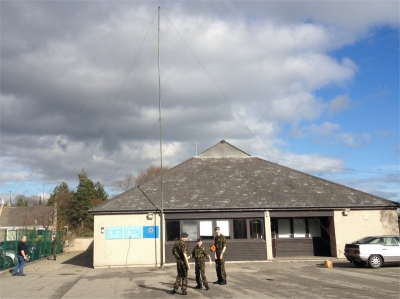 Temporary radio mast erected