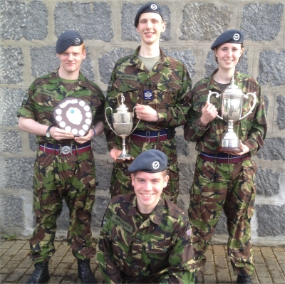 (l to r) Cdt Sgt Riddell, Cdt FS Smith, Cdt Sgt Prideaux, (kneeling) Cdt Odlin