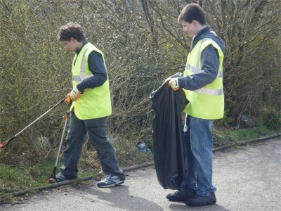 Picking up litter in Cove